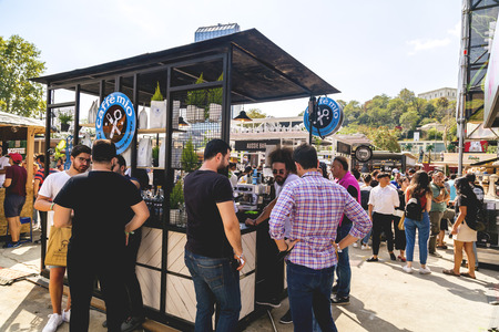 Istanbul, Turkey - September 24, 2017: Istanbul Coffee Festival held at Kucukciftlik Park in Macka, Istanbul, Turkey. Caffe Mio desk. Publikacyjne