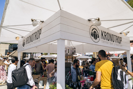 Istanbul, Turkey - September 24, 2017: Istanbul Coffee Festival held at Kucukciftlik Park in macka, Istanbul, Turkey. Kronotrop Coffee bar and Roastery booth.