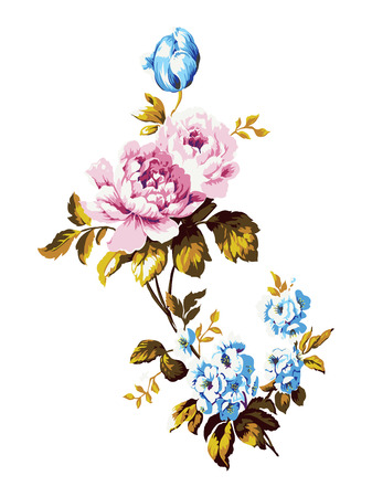 chic: Vintage bouquet of forget me nots, roses and tulips, floral design element vector illustration