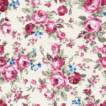 Shabby chic or granny chic vintage chintz roses in a seamlessly repeating pattern,