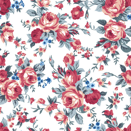 Shabby chic of oma-chique vintage chintz-rozen in een naadloos herhalend patroon,