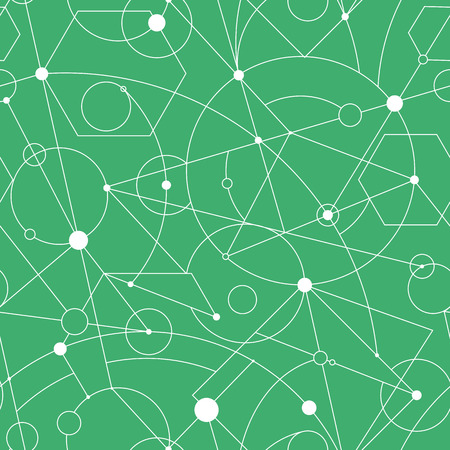 Grid seamless pattern with random geometric shapes and lines. Vector repeat background for web and print.