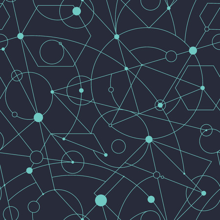 Grid seamless pattern with random geometric shapes and lines, vector repeat background for web and print