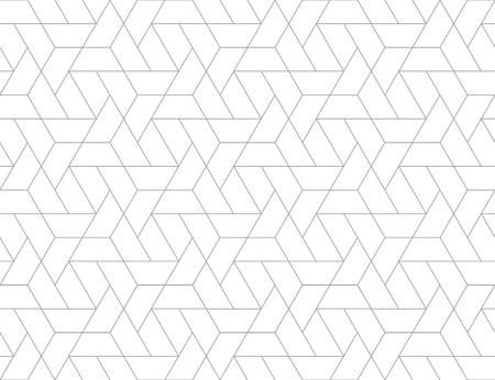 Griglia geometrica con intricati disegni esagonali e triangolari senza cuciture, ripetendo sfondo per scopi web e stampa. Vettoriali