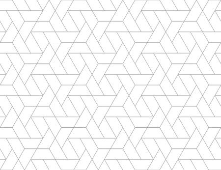 Rejilla geométrica con diseño intrincado hexagonal y formas triangulares de patrones sin fisuras, repitiendo el fondo para fines web y de impresión. Ilustración de vector
