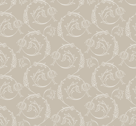Iznik style floral swirl motif seamless pattern design with Ottoman flower decorations, leaves and stylized blossoms, classic repeating background for print and web