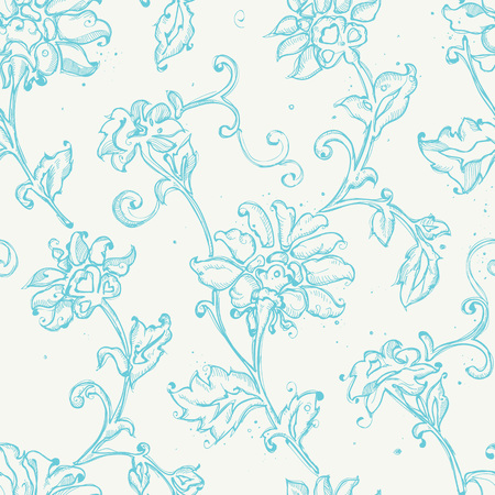 Seamless pattern design with sketchy floral drawings, freehand digital drawing flowers decorations, pretty repeat background