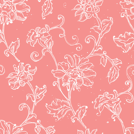 A Seamless pattern design with sketchy floral drawings, freehand digital drawing flowers decorations, pretty repeat background