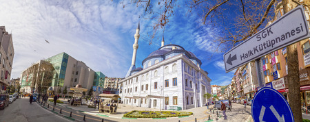 Gemlik, Turkey - March 21, 2018: Panoramic view of Gemlik Central Mosque at the town square. Gemlik is a coastal town located by the Sea of Marmara, Bursa, Turkey.