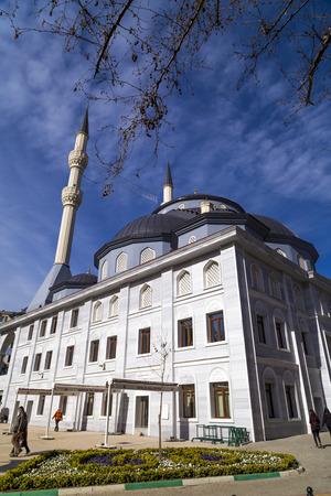 Gemlik, Turkey - March 21, 2018: Gemlik Central Mosque at the town square. Gemlik is a coastal town located by the Sea of Marmara, Bursa, Turkey.