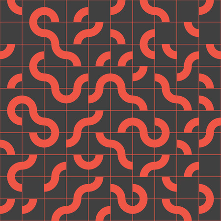 Abstract seamless pattern design with tiled circular shapes, creative repeat background for web and print Vectores