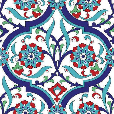 Iznik tile seamless pattern design, classical Ottoman Turkish style floral decoration, repeating background with stylized flowers in quatrefoil grid