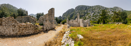 Ruins of Olympos ancient site in Antalya, Turkey. The ancient civilization was built on the Mediterranean coast. Stock Photo