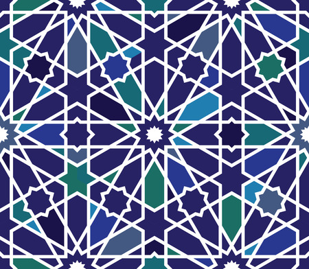 Classical Islamic seamless pattern, Moroccan style geometric tiles, hexagonal grid lines, intricate repeat background for web and print Stock Photo