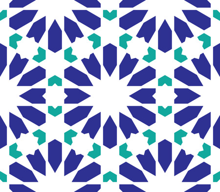 Classical Islamic seamless pattern, Moroccan style geometric tiles, hexagonal grid lines, intricate repeat background for web and print Ilustração