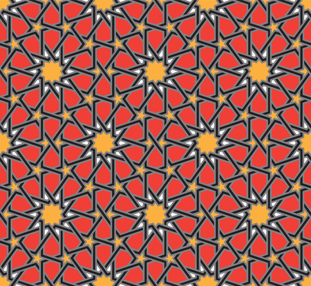 Classical Islamic seamless pattern, Moroccan style geometric tiles, hexagonal grid lines, intricate repeat background for web and print Ilustrace