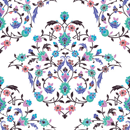 Classic Otoman Turkish style seamless pattern, traditional islamic motif with leaves and flowers