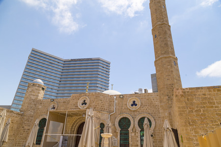 Tel Aviv-Yafo, Israel - June 6, 2018: Hasan Bey or Hassan Bek Mosque along Jaffa Beach in Tel Aviv-Yafo, Israel.