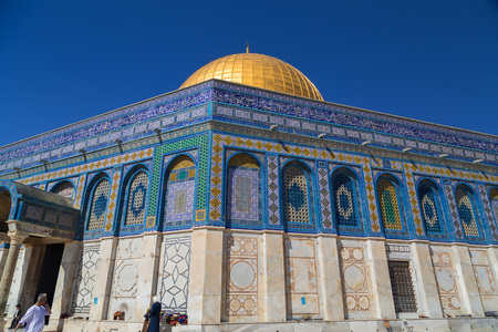 Jerusalem, Israel - June 14, 2018: Exterior view of the Dome of the Rock (Al Qubbet As-Sahra in Arabic) in the holy site of the Old City in Jerusalem, Israel.