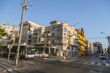 Tel Aviv-Yafo, Israel - June 6, 2018: Sunset scene from Allenby Road in Tel Aviv. Modern and old buildings around Allenby Road in Tel Aviv-Yafo, Israel. Editorial