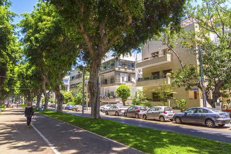 Tel Aviv-Yafo, Israel - June 9, 2018: Generic architecture and cityscape from Tel Aviv, Modern and old buildings in the central streets of Tel Aviv-Yafo, Israel. Sderot Hen Street Sajtókép