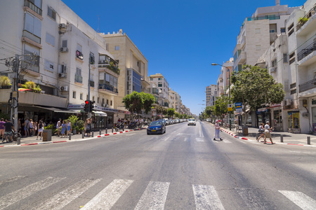 Tel Aviv-Yafo, Israel - June 9, 2018: Generic architecture and cityscape from Tel Aviv, Modern and old buildings in the central streets of Tel Aviv-Yafo, Israel. 新闻类图片