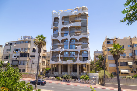 Tel Aviv-Yafo, Israel - June 9, 2018: Crazy house designed by Leon Geignebet in Tel Aviv. The building is an architectural attraction with its unusual exterior design.