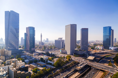 Tel Aviv-Yafo, Israel - June 9, 2018: Aerial view of the buildings and streets in Tel Aviv-Yafo, the cultural capital of the State of Israel.