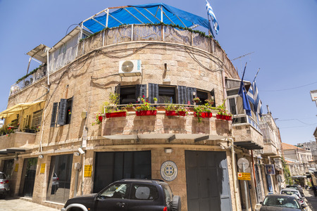 Jerusalem, Israel - June 14, 2018: Ancient streets and buildings in the old city of Jerusalem. Greek Consulate Building. Editorial
