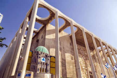 Tel Aviv, Israel - June 8, 2018: Exterior view of the Great Synagogue on Allenby Street. The building was designed by Yehuda Magidovitch in 1922 and completed in 1926.