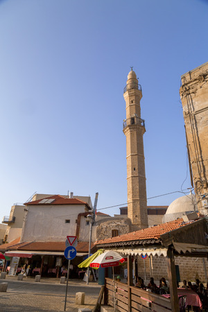 Yafo, Israel - June 10, 2018: Exterior view of Mahmoudiya Mosque in the old city of Yafo, Tel Aviv. The mosque was built in Ottoman Empire period.