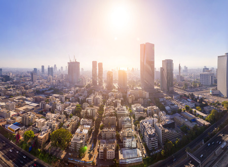 Tel Aviv-Yafo, Israel - June 9, 2018: Aerial view of the buildings and streets in Tel Aviv-Yafo, the cultural capital of the State of Israel. Sajtókép