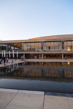 Tel Aviv-Yafo, Israel - June 9, 2018: Habima Square in Tel Aviv, Israel. The Habima Theater and Charles Bronfman Auditorium are located here with a large public area. 報道画像