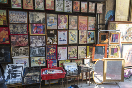 Athens, Greece - July 21, 2018: Shops and stalls at the old Flea Market in Athens, Greece. Ancient collectibles and vintage items can be found at the touristic market. Editoriali