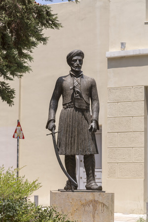 Athens, Greece - July 21,2018: Statue of Yannis Makriyannis Greek military officer who participated in the liberation war of Greece against Ottoman Empire.