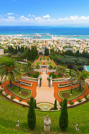 Bahai Gardens, a holy temple of the Bahai faith built on Mount Carmel in Haifa, Israel.