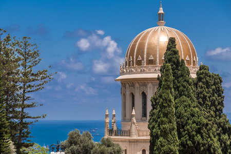 Bahai Gardens (Shrine of the Bab), a holy pilgrimage for the Bahai believers built on Mount Carmel in Haifa, Israel. Stock Photo