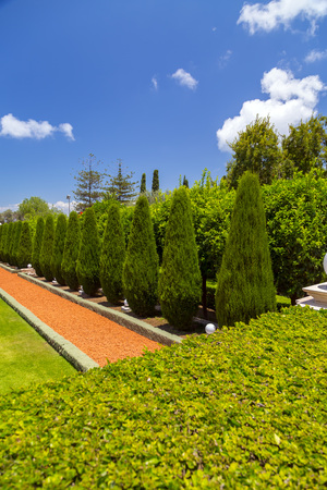 Bahai Gardens (Shrine of the Bab), a holy pilgrimage for the Bahai believers built on Mount Carmel in Haifa, Israel. Stock Photo