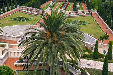 Haifa cityscape and Bahai Gardens (Shrine of the Bab), a holy pilgrimage for the Bahai believers built on Mount Carmel in Haifa, Israel.