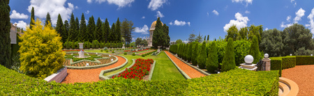Bahai Gardens (Shrine of the Bab), a holy pilgrimage for the Bahai believers built on Mount Carmel in Haifa, Israel. 版權商用圖片
