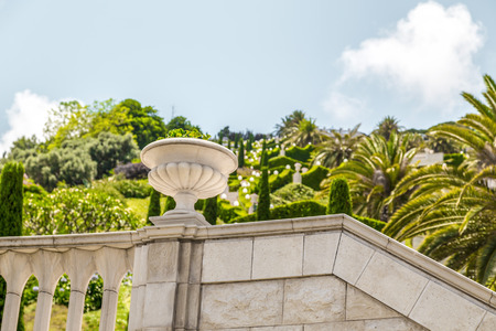Detail from Bahai Gardens (Shrine of the Bab), a holy pilgrimage for the Bahai believers built on Mount Carmel in Haifa, Israel.