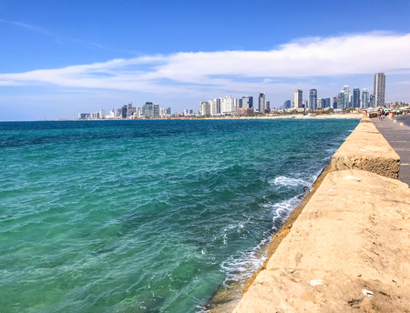 View of Tel Aviv-Yafo, the largest city of Israel. Located by the Mediterranean coast, Tel Aviv is a cultural and touristic capital in the middle east. Imagens