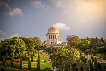Haifa, Israel - June 17, 2018: Bahai Gardens, a holy temple of the Bahai faith built on Mount Carmel in Haifa, Israel.