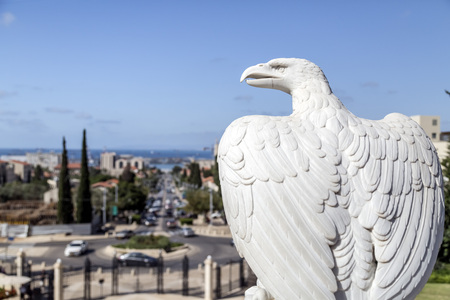 Marble eagle statue at the Bahai Gardens, a holy temple of the Bahai faith built on Mount Carmel in Haifa, Israel.