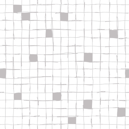 Seamlaess pattern design with artistic hand drawn lines, checkered grid, square composition, creative repeat background Ilustração