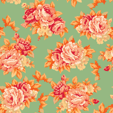 Shabby chic or granny chic vintage chintz roses seamless pattern design, classic ephemera flowers repeat background