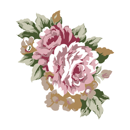 Vintage roses design element, classic floral ornament illustration