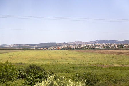 View of a Palestinian Arab village in the West Bank from Israeli highway Jerusalem to Haifa.