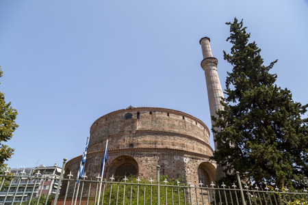 Exterior view of the Rotunda, an ancient temple in Thessaloniki, Greece.