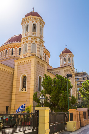 Thessaloniki, Greece - July 22, 2018: Exterior view of the church Agios Gregorios Palamas in Thessaloniki, Greece.